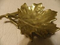 Vintage brass  leaf dish by Virginia Metalcrafters