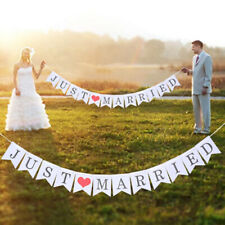 Charm JUST MARRIED Heart Wedding Signs Banner Party Decor Garland Photo Props