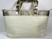 Elizabeth Arden Cream White Faux Straw Tote Bag with Orange Fabric Lining