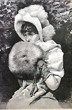 Victorian Girl in WHITE FUR HAT and HAND MUFF 1884 Antique Engraving Matted