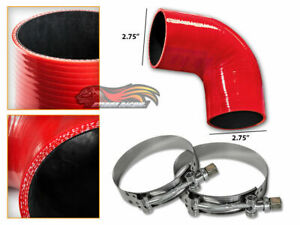 """RED Silicone 90 Degree Elbow Coupler Hose 2.75"""" 70 mm + T-Bolt Clamps MZ"""