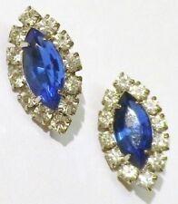 boucles d'oreilles percées bijou vintage navette cristal bleu saphir * 4775