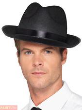 Adults Fedora Hat Mens Ladies Gangster Mafia 20s Trilby Fancy Dress Accessory