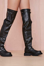 NEW JEFFREY CAMPBELL $172 BLACK REBEL YELL FAUX LEATHER BOOTS SHOES SZ 7