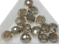 15 Glasperlen 10mm Rauch farbe AB Rondell Tschechisch Kristall Perlen BEST X210