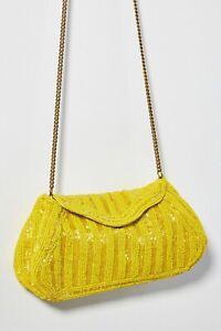 Anthropologie Fiona Beaded Clutch $68 Yellow
