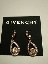 Givenchy Champagne Crystal Dangling Earrings New on Card