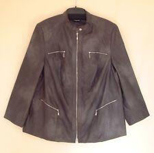 Samoon Jacke by Gerry Weber Gr.52 dunkelgrau Kunstleder Bikerstyle Vintage-Look