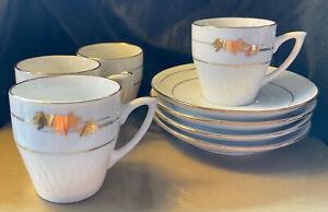 Vintage White Gold Gilded Mapel Leaf Demi Tasse 4 Person Cup saucer tea set