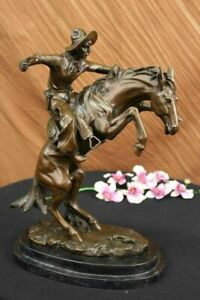Frederic Remington Solid Bronze Bronco Buster Statue Sculpture - Medium Size NR