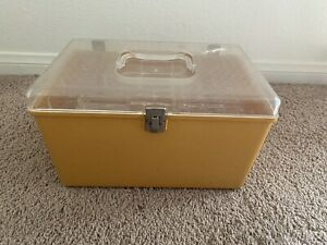 Vintage Wilson WIL-HOLD Plastic Sewing Box Case Yellow with 2 Trays