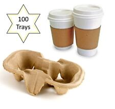 100 x 2 Cup Takeaway Cardboard Carry Tray Holder Tea Coffee Party Event Catering