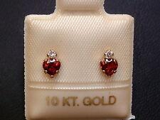 Granat Ohrstecker Ohrringe - Herz Schliff mit Krone - 10 Kt. Gold - 417 -