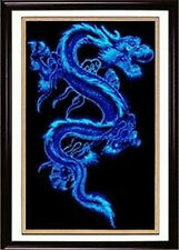 "NEW Cross Stitch Kits""Blue Dragon "" 14CT:60CM*40CM"
