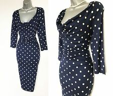 Phase Eight Navy Ivory Spotted Print Cowl Neck Pencil Casual Dress UK10  EU38