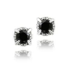925 Silver 2ct Black Spinel Round Stud Earrings