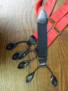 """Mens Suspenders 100% Silk 52"""" Made in ENGLAND Black & Red NWOT N-#134"""