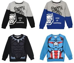 Marvel Boys Black Panther Captain America Jumper Character Sweatshirt 4 to10 Yrs