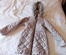 NEXT, Beige, quilted, padded, zip-up coat, fleece lined with hood. age 7-8yrs.