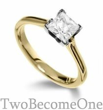 Princess Solitaire Yellow Gold 18 Carat Fine Diamond Rings