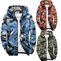 Hommes Camouflage Jacket Imprimé Blouson Militaire Casual Sport Veste à capuche