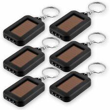 Bright Mini Solar Powered Keychain LED White Light Key Ring Flashlight [6-Pack]