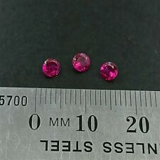 LOOSE RUBY GEMSTONES x3 - 3.75mm Round cut created Rubies light red- Free Post