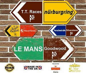 Racing Circuit Metal Road Sign Double Ended Le Mans Goodwood Silverstone Ferrari