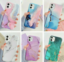 For iPhone 11 Pro Max XS Max XR 8 7 SE2 Watercolor Marble Soft Rubber Case Cover