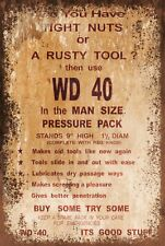 WD40 Funny Advert Vintage Retro Style Metal Sign Plaque, mancave garage shed