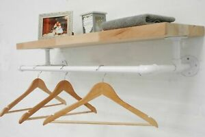 Clothes Rail & Shelf, Industrial White Powder Coated Pipe Rail, Urban, Vintage
