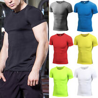 Men Short Sleeve T-shirt Sport Compression Quick Dry Fitness Base Layer Gym Tops