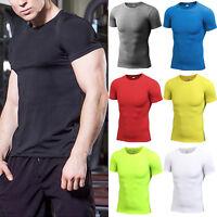 Mens Compression Crew Neck Sport T-shirt Short Sleeve Fitness Workout Skin Shirt