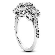 Three Stone 2.14 Carat Diamond Engagement Ring Round Cut 14k White Gold H/SI1