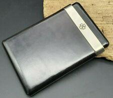 vintage Zigarren Etui Sillems Florentiner Leder 925 Sterling Silber 7,3cm x 11cm