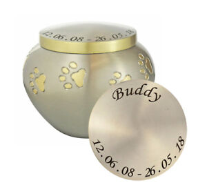 Personalised Paw Pet Urn in Silver and Gold for Dog Cat Ashes Cremation Memorial