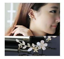 2 Pcs Pearl Diamante Rhinestone Ear Cuff Stud Earrings Gold Floral Ivory Clip On