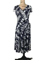 Maggy London Women's Navy Tropical Print Stretchy Wrap Dress  Flare Dress Sz 16
