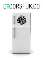Rose Flower Fridge Stickers on black vinyl on A4 size - Kitchen Stickers