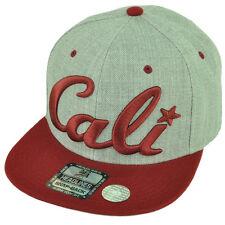 Cali California Republic 3D Snapback Flat Bill Hat Cap Two Tone Heather Maroon