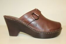 Born Womens Clog Size 9 / 40.5 Brown Leather Mule Slide On Heel Shoes