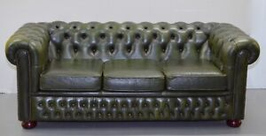 CHESTERFIELD 3 SEATER ANTIQUE OLIVE GREEN LEATHER SOFA