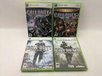 Lot of 4 Call of Duty Xbox 360 Call of Duty 2, 3 (Gold), World at War Modern War