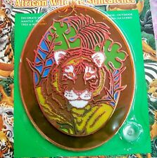 "Hermitage Pottery Large 9"" Oval Suncatcher African Wildlife Tiger In Jungle, New"