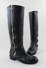 Jimmy Choo Black Leather Logo Metal Heel Plate Knee High Boots Size 37 7