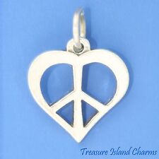 CUTOUT HEART WITH PEACE SIGN SYMBOL LOVE .925 Sterling Silver Charm or Pendant