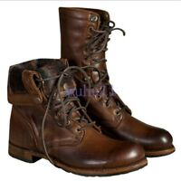 Men's Retro Ankle Boots High Top Lace Up Motocycle Combat Faux Leather Shoes New
