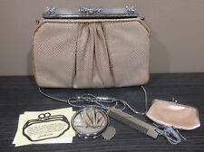 JUDITH LIEBER Vintage Snake Skin Bag Mirror Comb Wallet Clutch Shoulder Bag