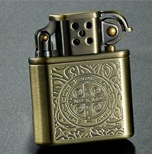 Men's Retro Kerosene Lighter Gear Fire Flint Bronze Cigar Lighter FreeShippingUS