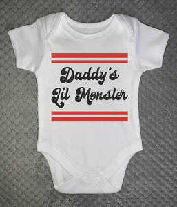 Daddy's Lil Monster Baby Grow bodysuit funny novelty gift vest